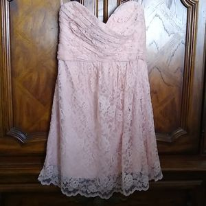 Amsale Strapless Blush Pink Lace Dress, Size 8